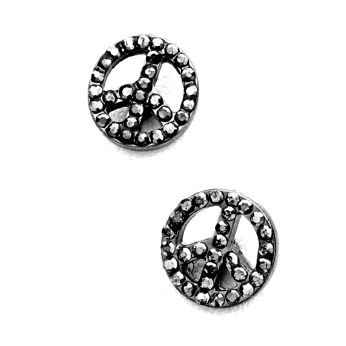 bejeweled gunmetal peace sign post earrings