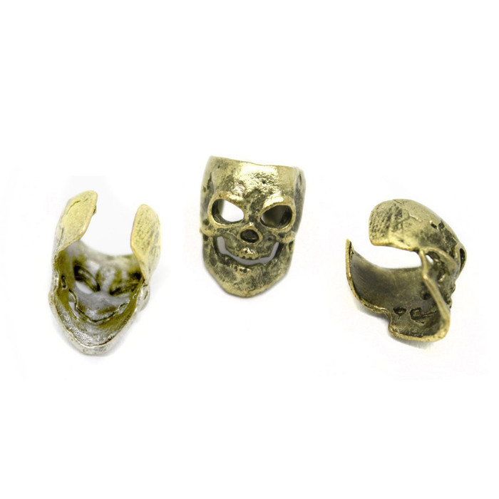 antiqued gold skull ear cuffs (pair)