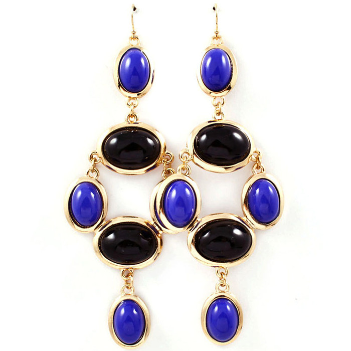 blue and black cabochon drop earrings
