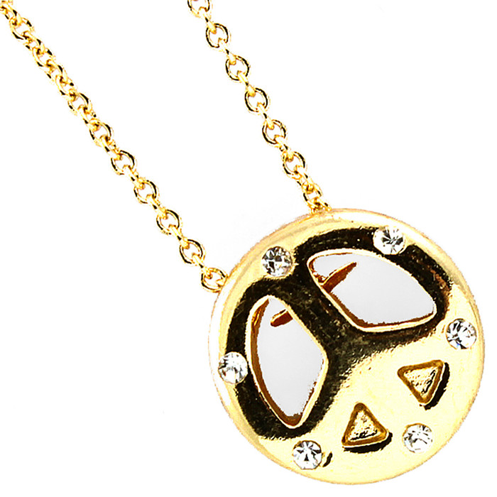 mini bejeweled golden peace sign necklace