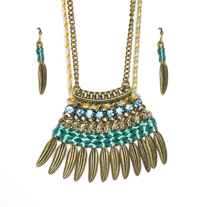 Boho Necklace and Drop Earring Set