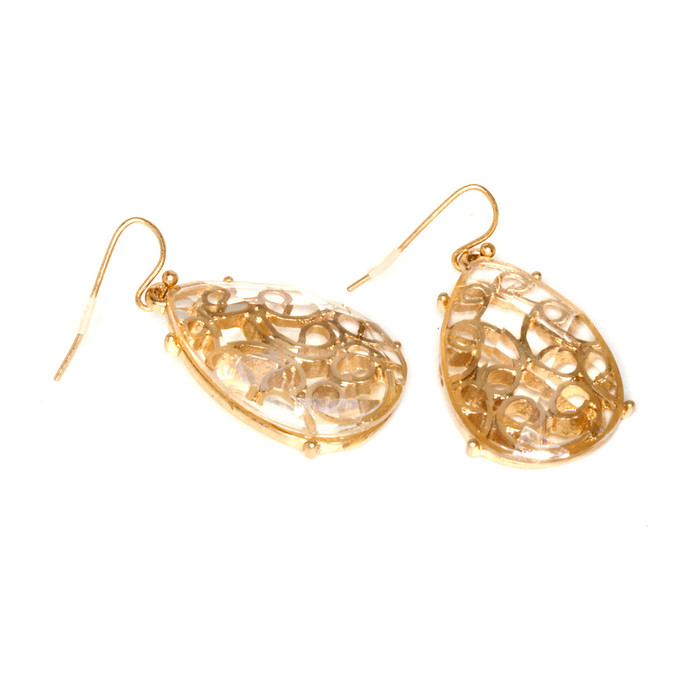golden filigree teardrop earrings with clear stone overlay