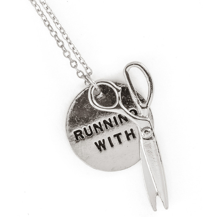 silver 'running with scissors' necklace