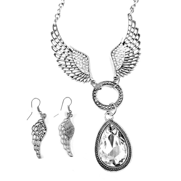 silver angel wing necklace and earring set