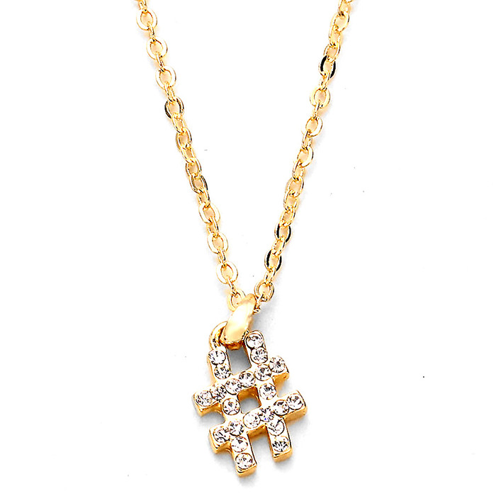 bejeweled golden hashtag necklace