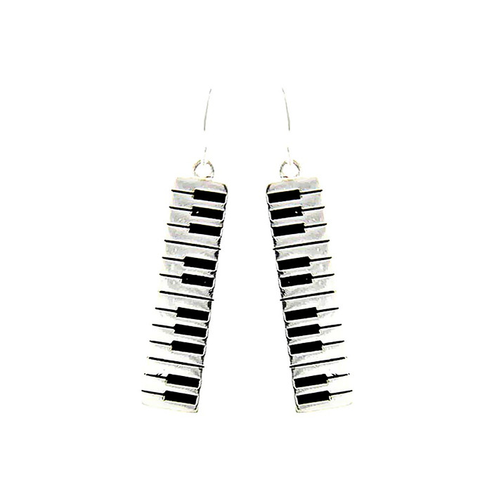 silver keyboard drop earrings