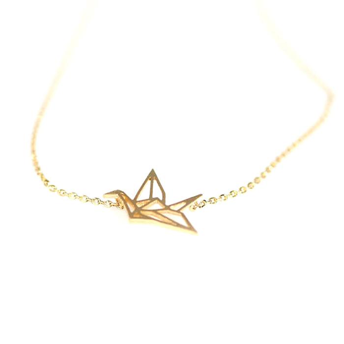 golden origami crane outline necklace