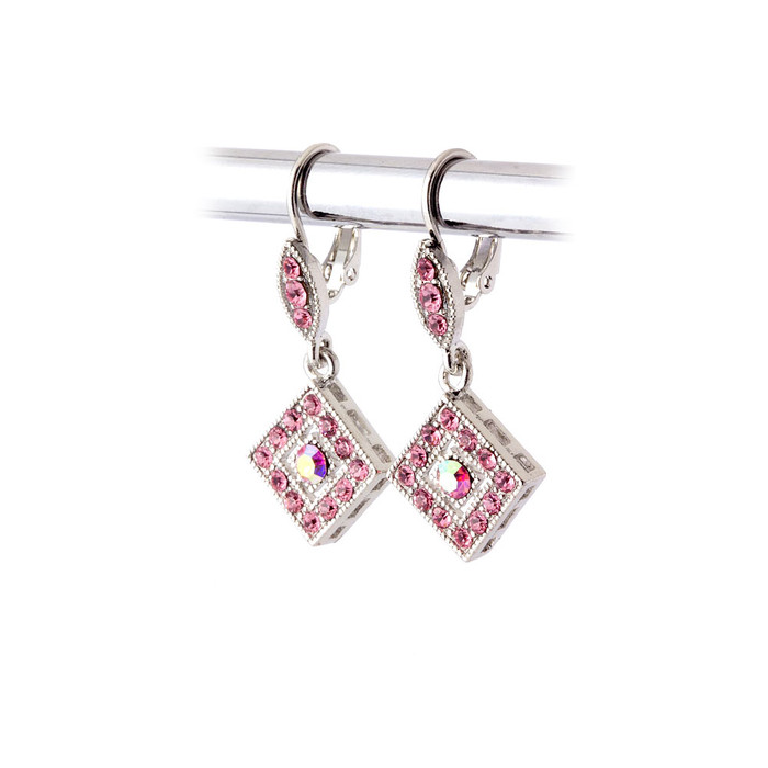 pink Austrian crystal leverback earrings