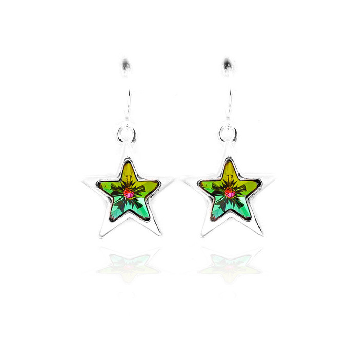 rainbow Swarovski crystal star earrings