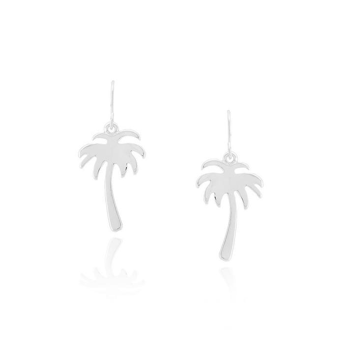 silver palm tree cutout drop earrings