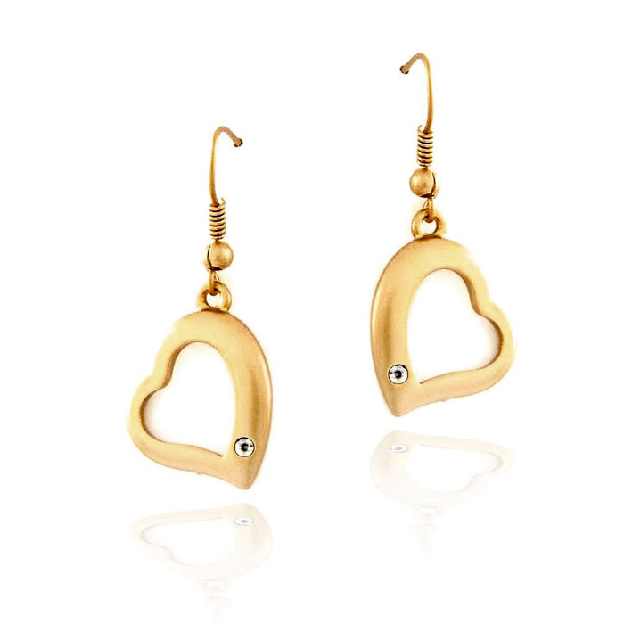 matte gold heart drop earrings with crystal detail