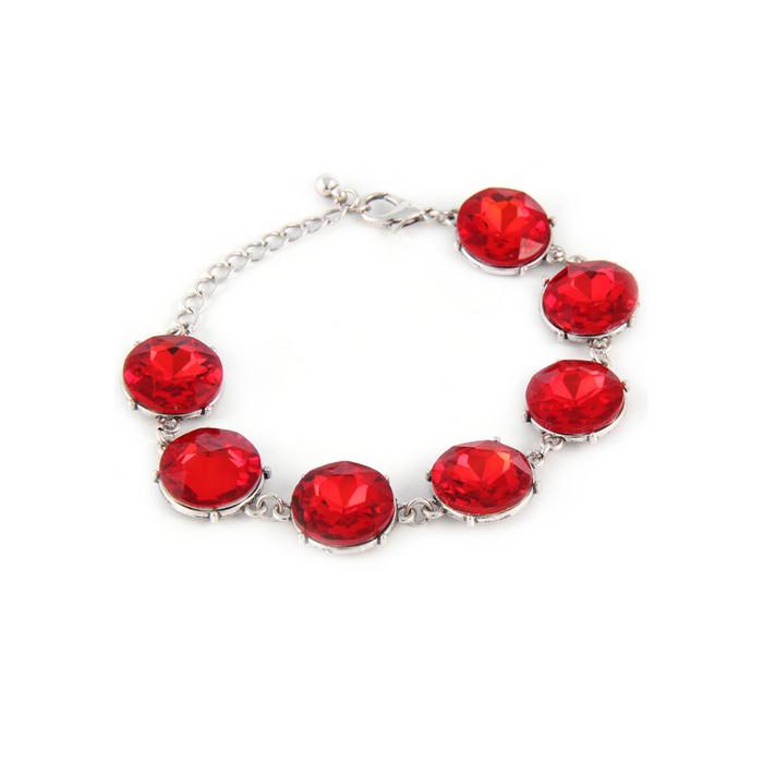 vibrant red 7-crystal bracelet
