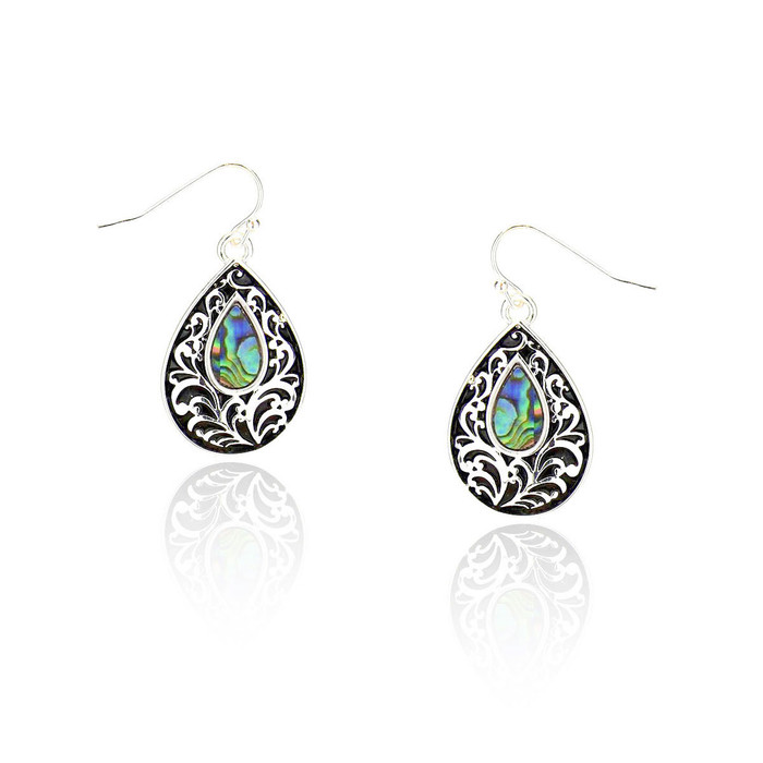 antiqued silver filigree teardrop earrings with abalone center