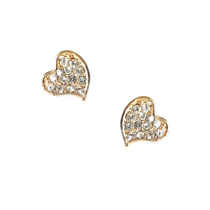 mini golden crystal heart post earrings