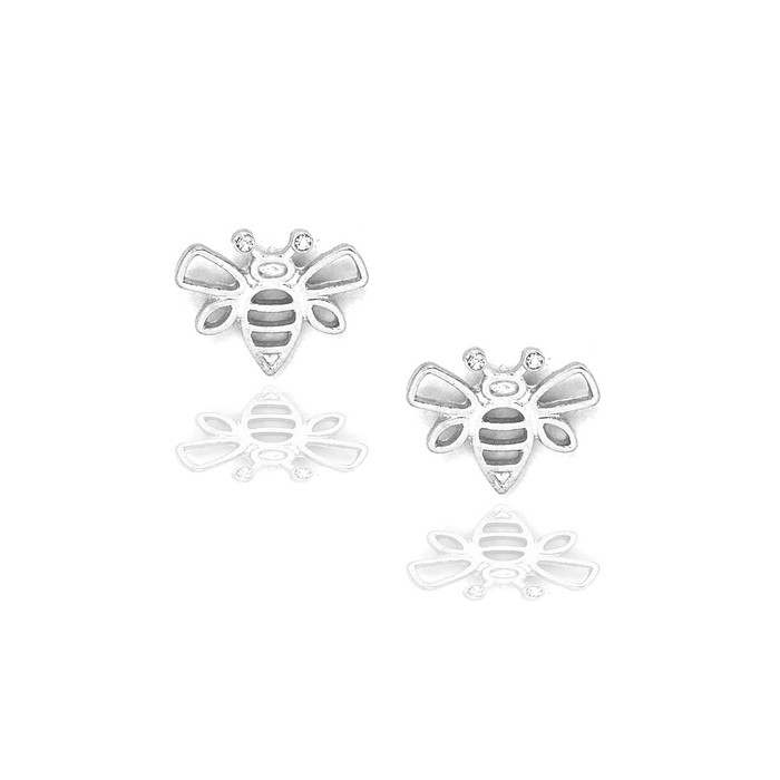 silver bee outline post earrings with crystal detail