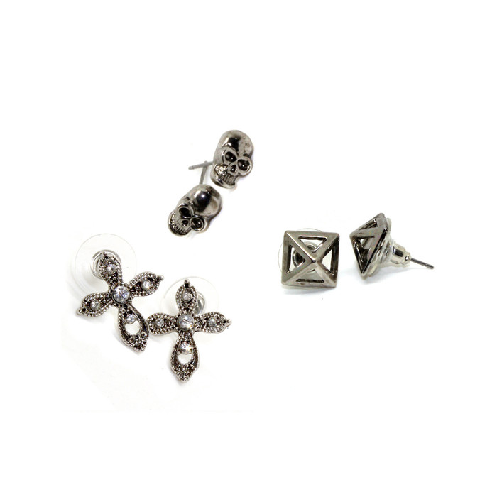 Antiqued Silver Trio Post Earring Set: Skull, Pyramid & Cross