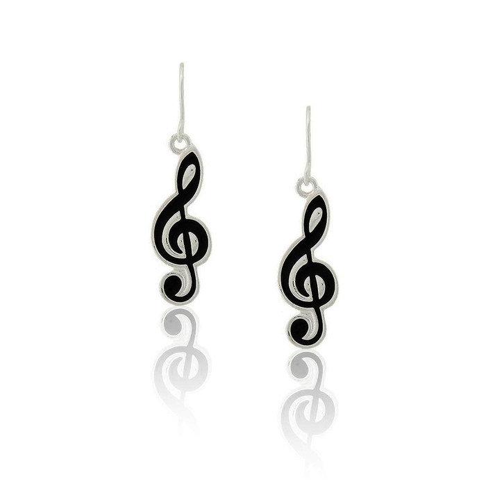 black enameled treble clef drop earrings