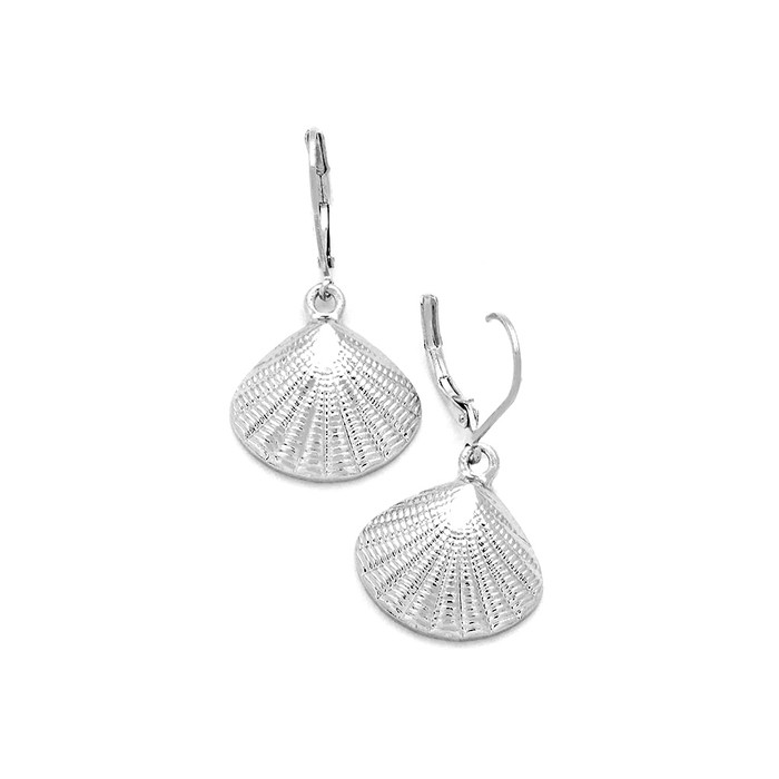silver textured half shell leverback drop earrings