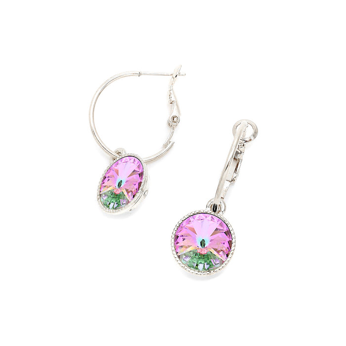 gorgeous light vitrail Austrian crystal hoop leverback earrings
