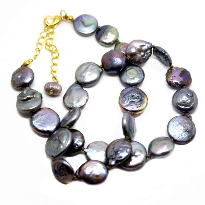 flat lavender freshwater pearl necklace