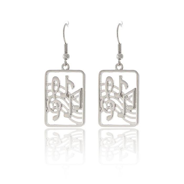 silver musical drop earrings