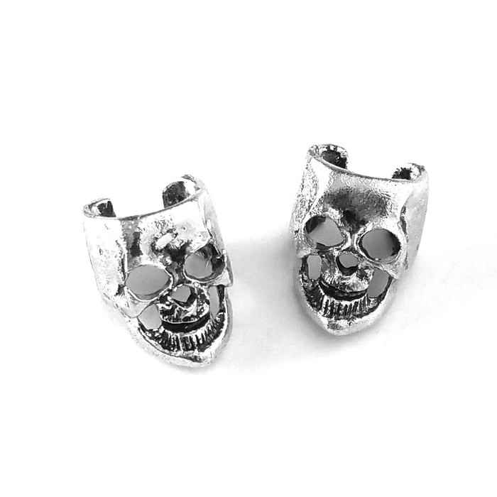 antiqued silver skull ear cuffs (pair)