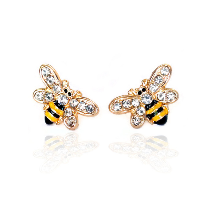 tiny golden bee post earrings with enamel and crystal