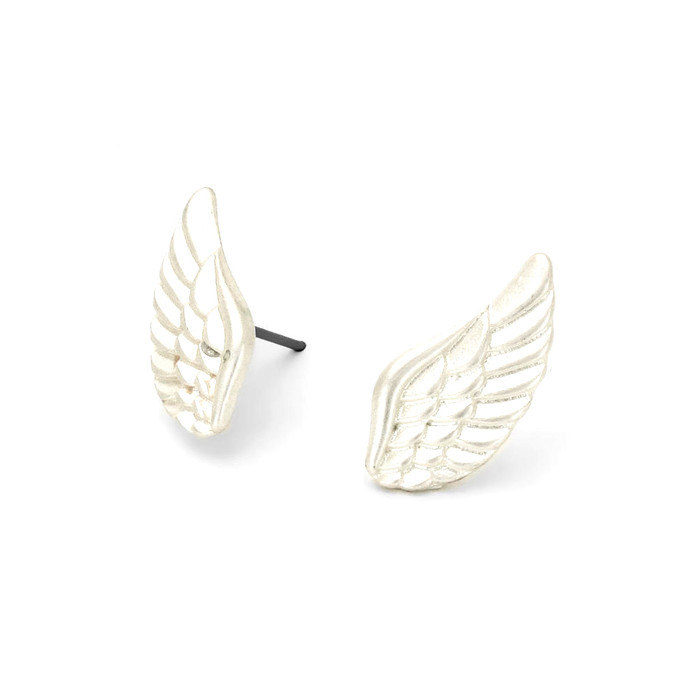 silver angel wing post earrings