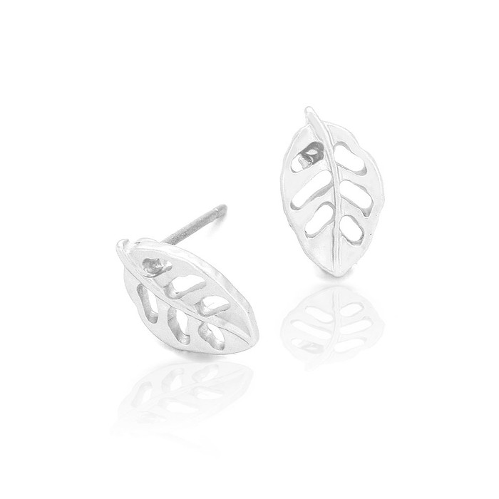 mini matte silver leaf outline post earrings