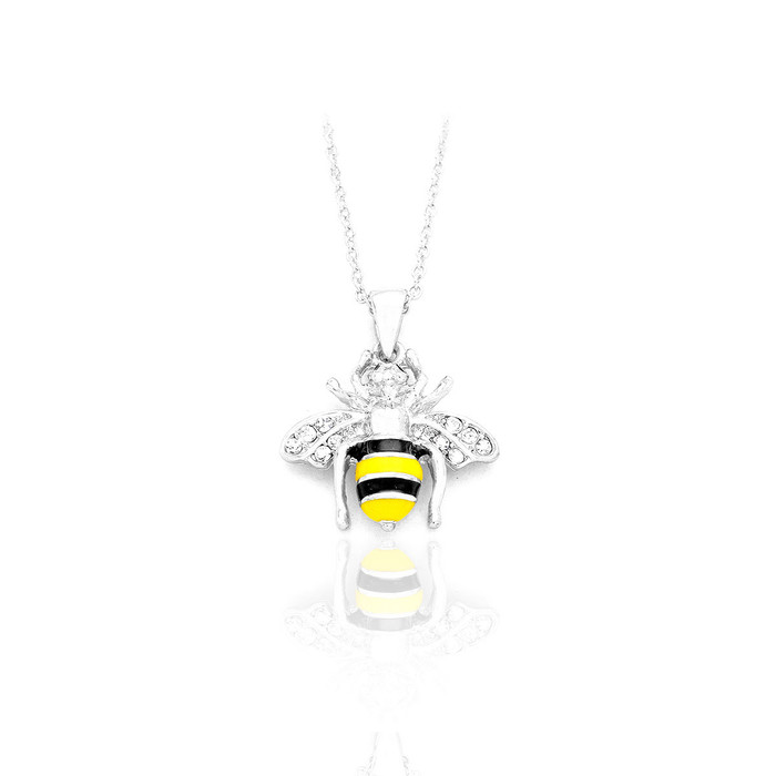 silver enameled bee necklace with crystal detail