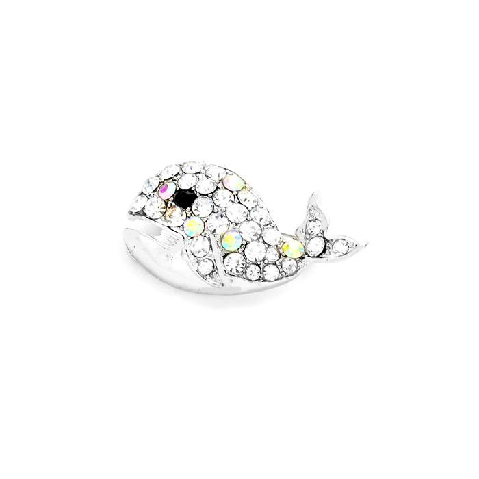 bejeweled aurora borealis whale pin