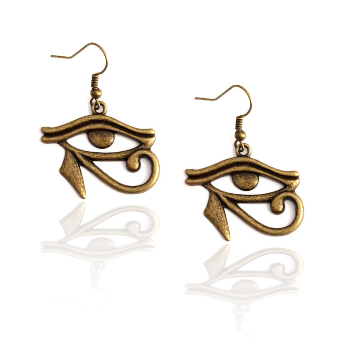 antiqued gold eye of Horus egyptian drop earrings