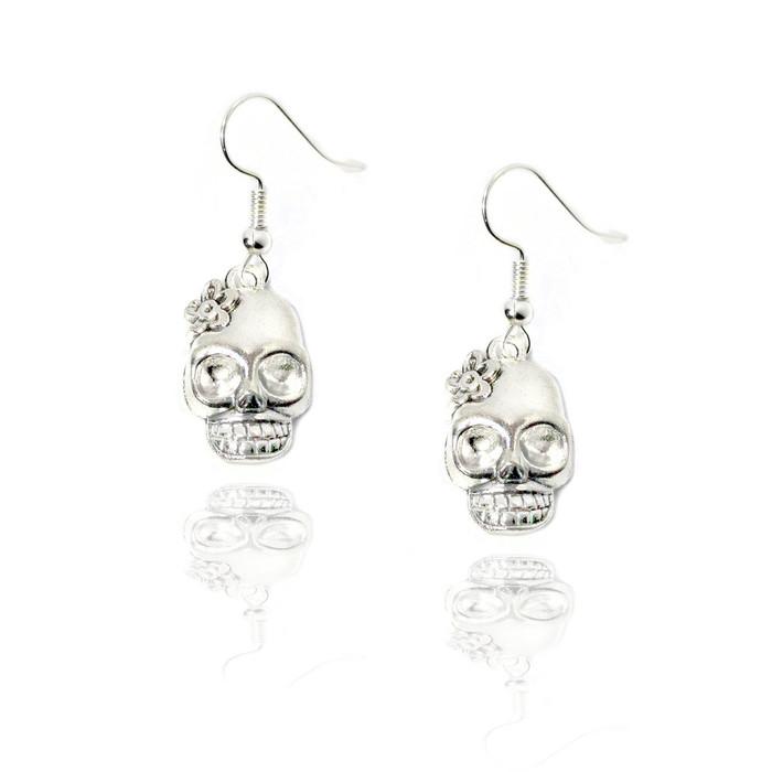 Silver Sugar Skull Drop Earrings