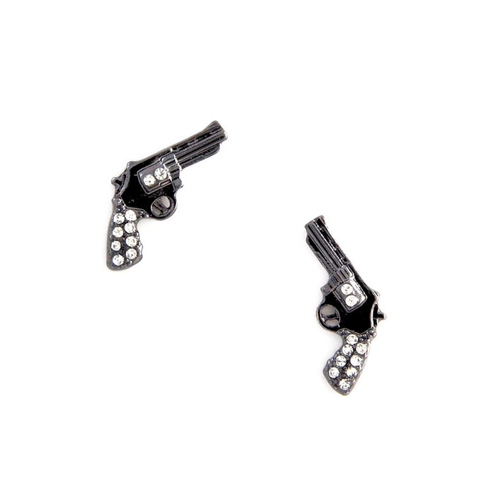 bejeweled gunmetal revolver post earrings