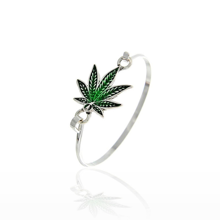 green enameled cannabis/hemp leaf bangle