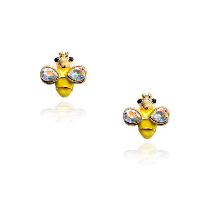 golden bee post earrings with enamel and aurora borealis crystal
