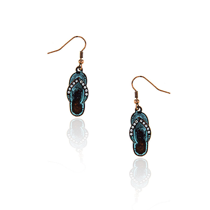 bejeweled patina flip-flop drop earrings