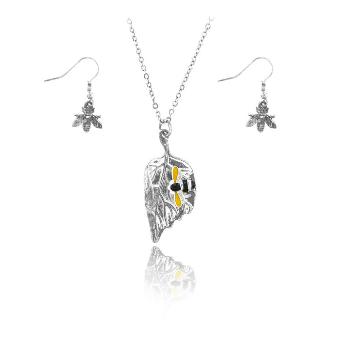 silver leaf necklace and earring set with enameled bee