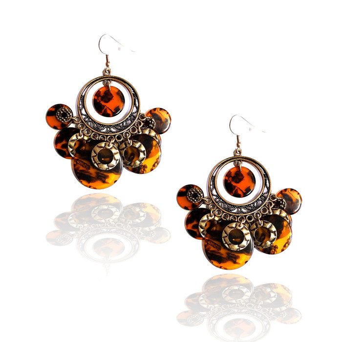 antiqued golden tortoiseshell chandelier drop earrings