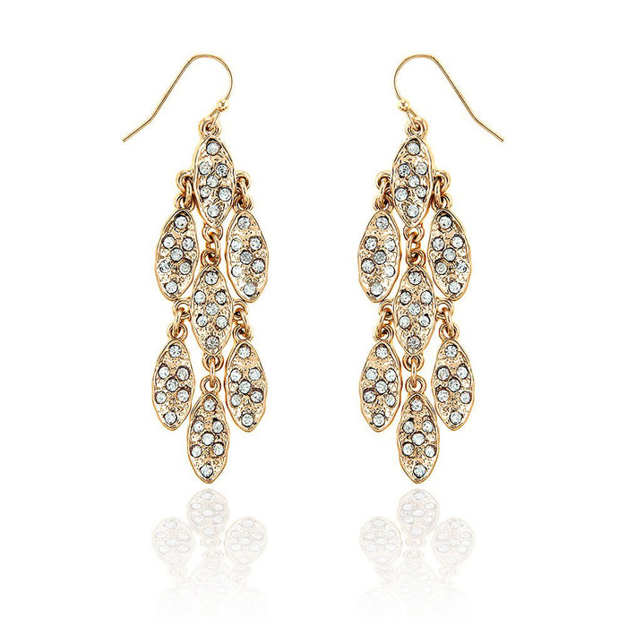 7+7 golden marquis cluster chandelier earrings with clear crystals