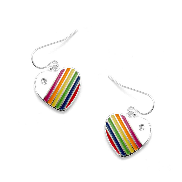 enameled rainbow pride heart drop earrings with crystal detail
