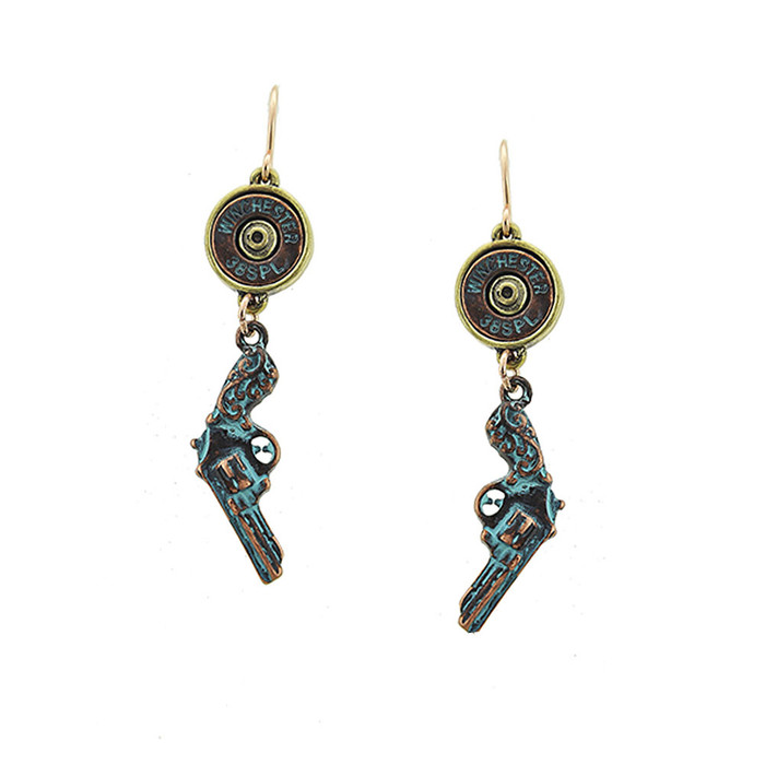 patina revolver and golden bullet drop earrings
