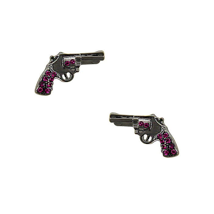 gunmetal revolver post earrings with pink crystal detail