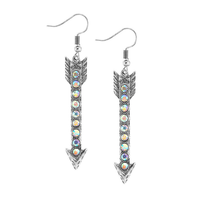 silver arrow drop earrings with aurora borealis crystals