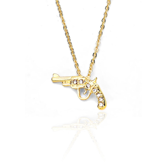 bejeweled golden revolver/pistol pendant necklace