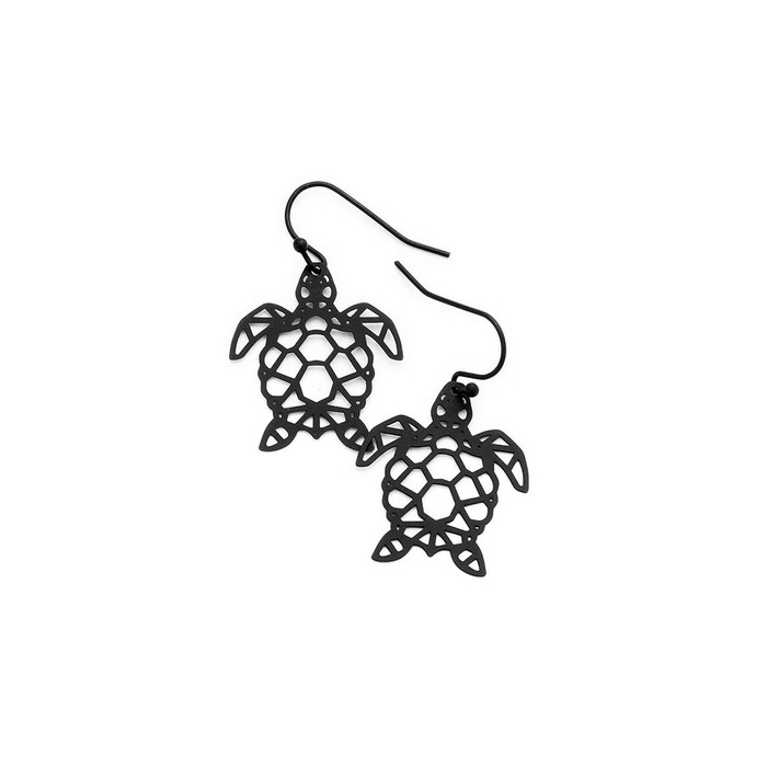 feather-light black sea turtle outline drop earrings
