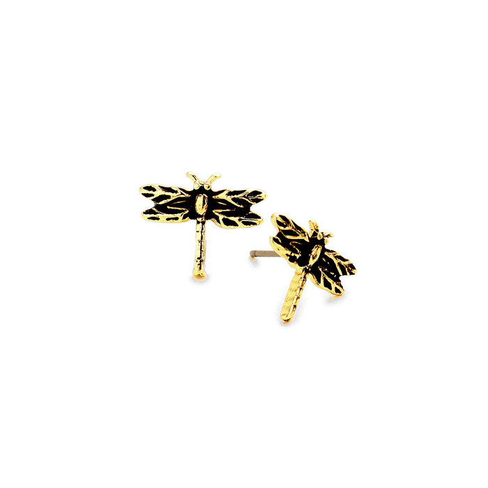 mini antiqued gold dragonfly post earrings
