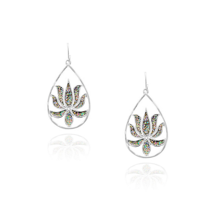 Silver Lotus Teardrop Earrings with Rainbow Glitter