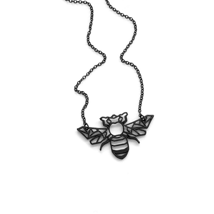 matte black bumble bee outline necklace