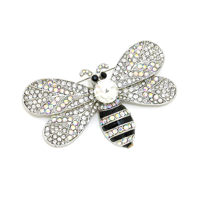 large bejeweled and enameled silver and aurora borealis crystal bee pin